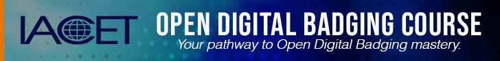 "IACET Open Digital Badging Series banner with IACET logo and the words ""Open Digital Badging Series"" on a blue gradient background"